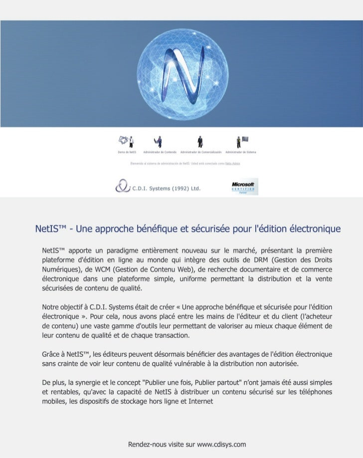 NetIS™: Un Nouveau Modèle de Ventes pour  Les Propriétaires de Contenu