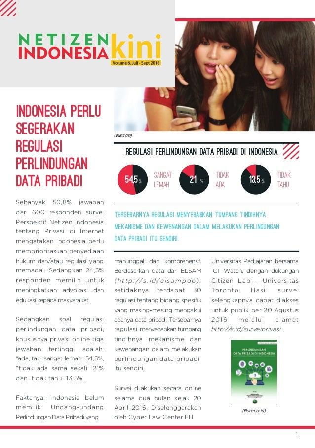 INDONESIA PERLU SEGERAKAN REGULASI PERLINDUNGAN DATA PRIBADI Sebanyak 50,8% jawaban dari 600 responden survei Perspektif N...