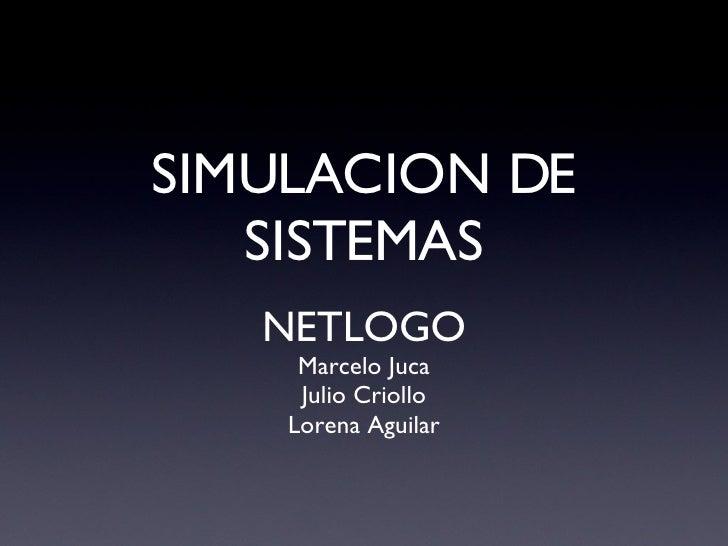 SIMULACION DE SISTEMAS <ul><li>NETLOGO </li></ul><ul><li>Marcelo Juca </li></ul><ul><li>Julio Criollo </li></ul><ul><li>Lo...