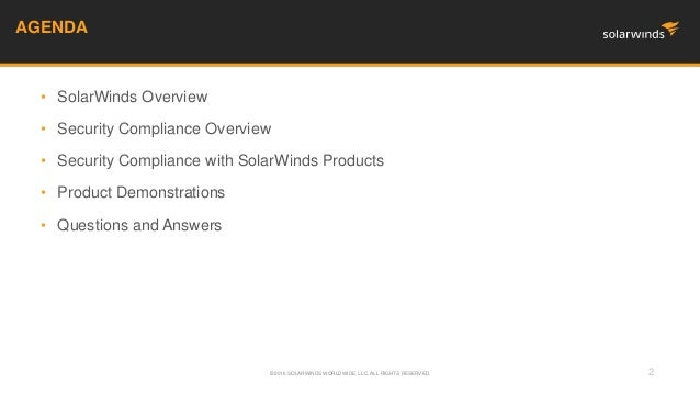 Federal Webinar: Security Compliance with SolarWinds