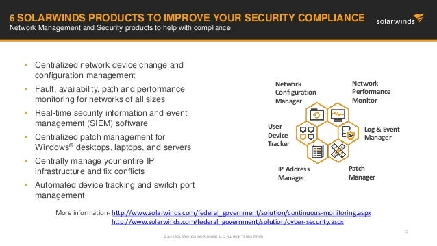 Federal Webinar: Security Compliance with SolarWinds Network