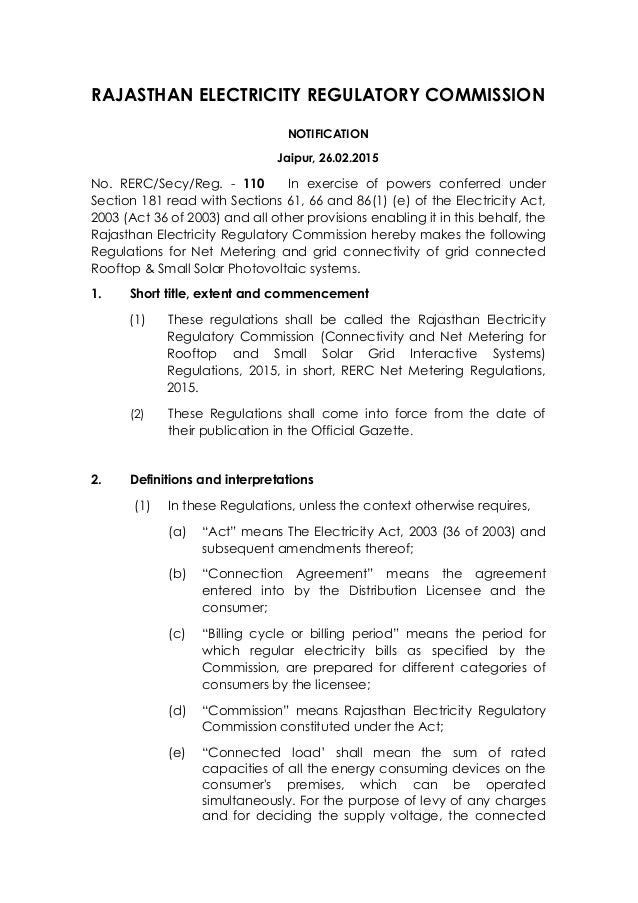 Rerc Net Metering Regulations 2015