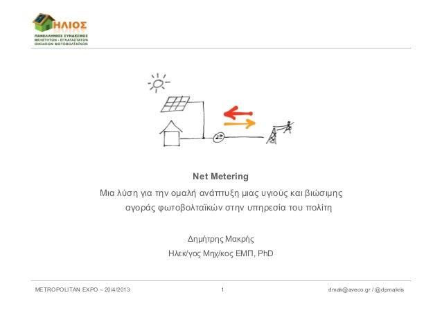 METROPOLITAN EXPO – 20/4/2013 dmak@aveco.gr / @dpmakris1Net MeteringΜια λύση για την ομαλή ανάπτυξη μιας υγιούς και βιώσιμ...