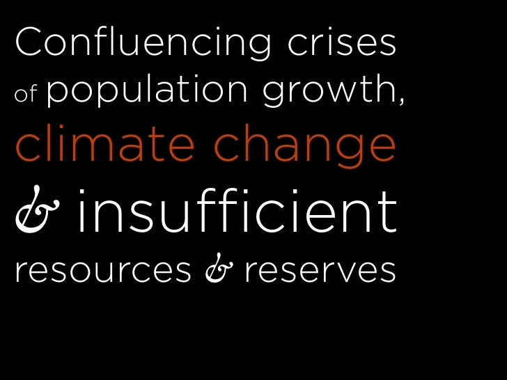 Confluencing crises of population growth,  climate change & insufficient resources & reserves