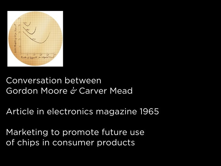 Conversation between Gordon Moore & Carver Mead  Article in electronics magazine 1965  Marketing to promote future use of ...