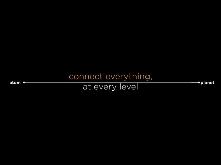 connect everything, atom                         planet           at every level