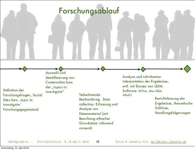 18 Forschungsablauf Definition der Forschungsfragen, Social Sites bzw. ,topic to investigate' Forschungsgegenstand Auswahl ...