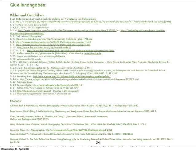 34 Quellenangaben: Bilder und Graphiken: Start Slide: Screenshot Touch-Graph Darstellung der Vernetzung von Netnography S....