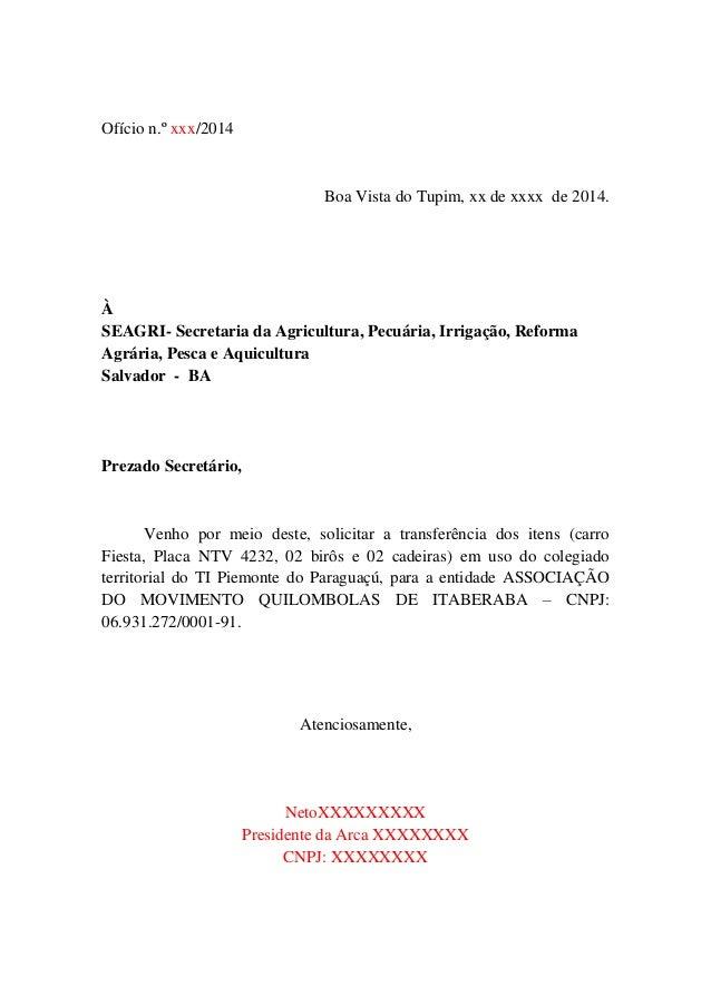 Ofício n.º xxx/2014 Boa Vista do Tupim, xx de xxxx de 2014. À SEAGRI- Secretaria da Agricultura, Pecuária, Irrigação, Refo...