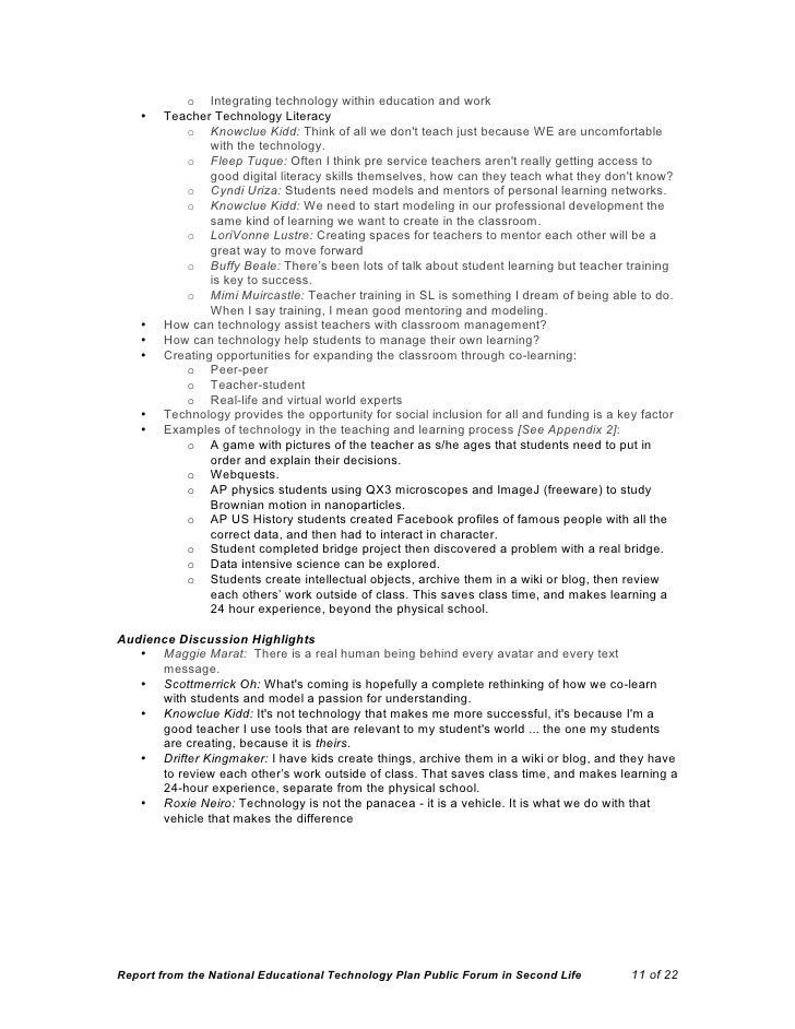 National Educational Technology Plan (NETP) 2009 Second Life Public F…