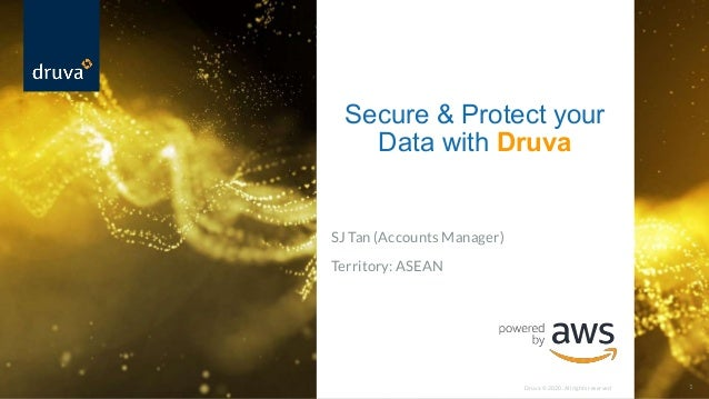 Druva © 2020. All rights reserved 1 SJ Tan (Accounts Manager) Territory: ASEAN Secure & Protect your Data with Druva