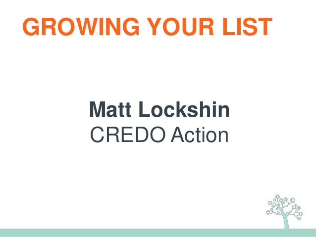 Matt Lockshin CREDO Action GROWING YOUR LIST