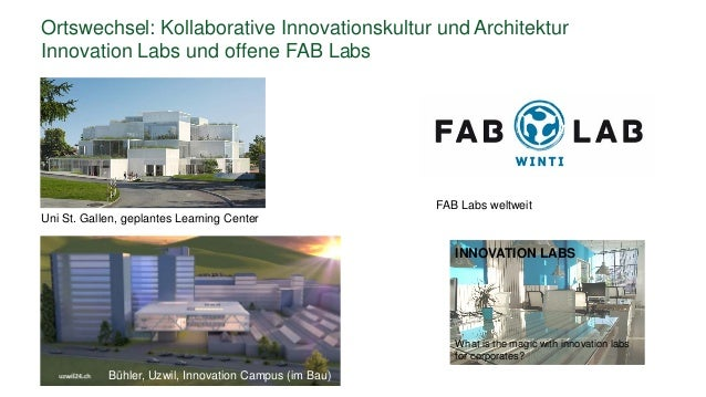Ortswechsel: Kollaborative Innovationskultur und Architektur Innovation Labs und offene FAB Labs INNOVATION LABS What is t...
