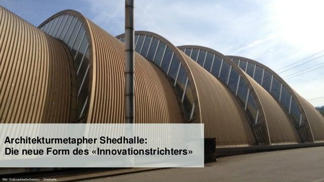 25 Architekturmetapher Shedhalle: Die neue Form des «Innovationstrichters» Bild: Goldzackhalle Gossau – Shedhalle