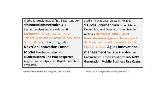3 Methodenstudie in 2017/18 . Bewertung von 49 Innovationsmethoden aus Literaturanalyse und Auswahl von 6 Methoden: Open I...