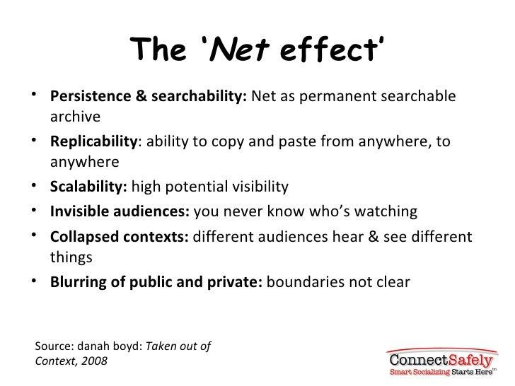 The ' Net  effect' <ul><li>Persistence & searchability:  Net as permanent searchable archive </li></ul><ul><li>Replicabili...