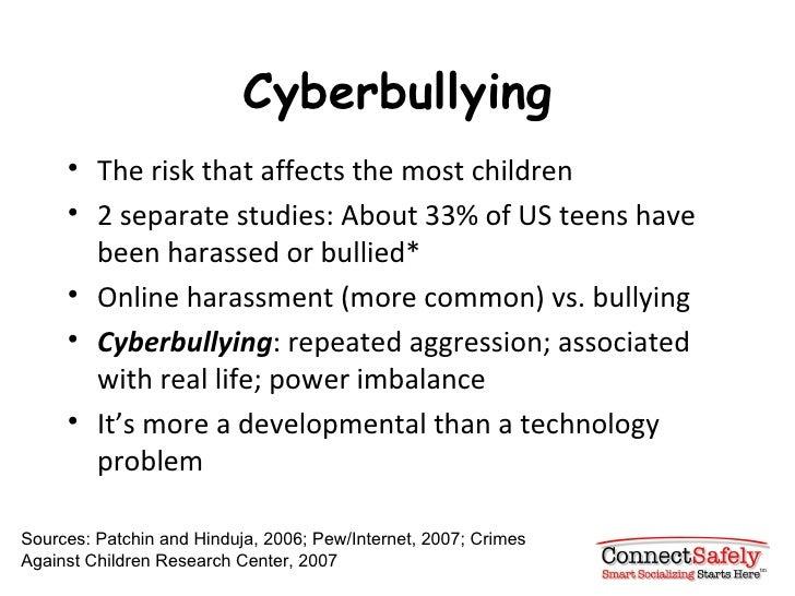 Cyberbullying <ul><li>The risk that affects the most children </li></ul><ul><li>2 separate studies: About 33% of US teens ...