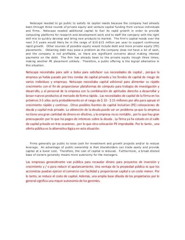 netscape ipo American university of beirut case study analysis netscape's initial public offering prepared by: assadi, louay koleilat, jana course #: mfin.