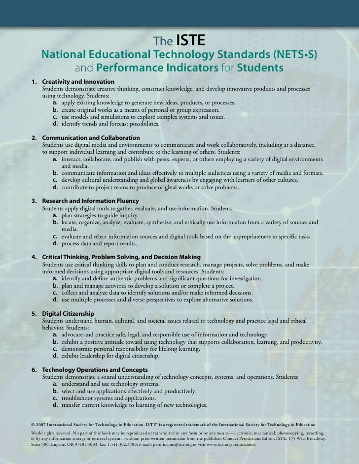 The ISTE      National Educational Technology Standards (NETS•S)            and Performance Indicators for Students 1. Cre...