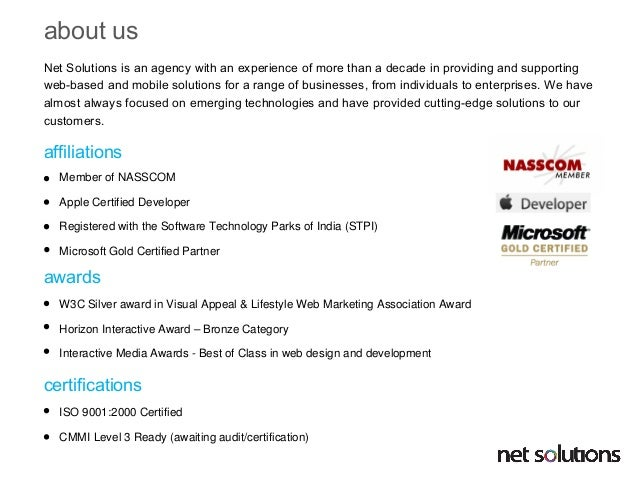 Net Solutions ASP .NET profile Slide 2