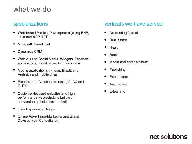 Net Solutions ASP .NET profile Slide 3