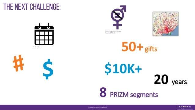 The next Challenge: $ $10K+ 20 years 50+gifts 8 PRIZM segments © Environics Analytics
