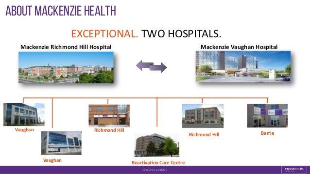 About Mackenzie Health © Environics Analytics EXCEPTIONAL. TWO HOSPITALS. Mackenzie Richmond Hill Hospital Mackenzie Vaugh...