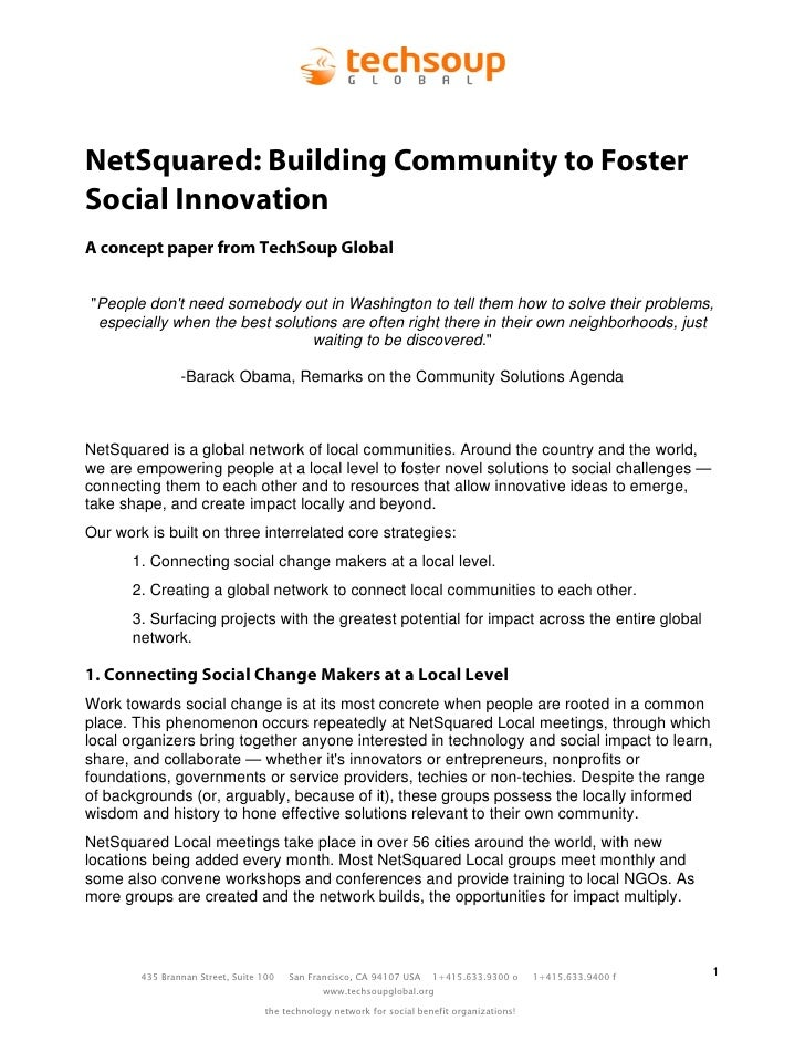 "NetSquared: Building Community to Foster Social Innovation A concept paper from TechSoup Global   ""People don't need someb..."