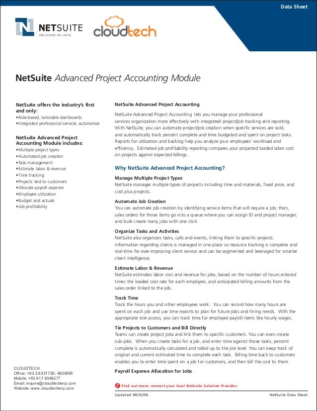 NetSuite Advanced Project Accounting NetSuite Advanced Project Accounting lets you manage your professional services organ...