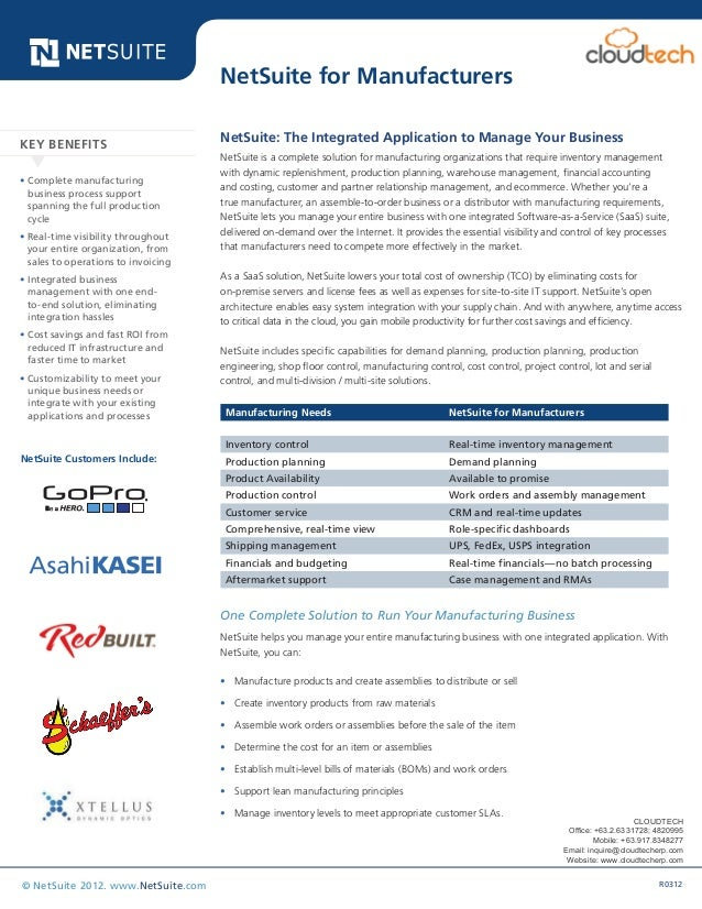 Data Sheet R0312© NetSuite 2012. www.NetSuite.com NetSuite: The Integrated Application to Manage Your Business NetSuite is...