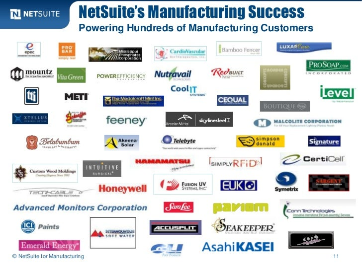 NetSuite's Manufacturing Success                         Powering Hundreds of Manufacturing Customers© NetSuite for Manufa...