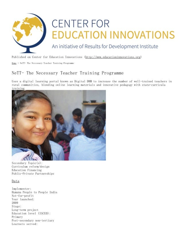 NETT the necessary teacher training programme