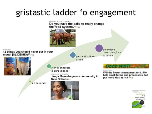 gristastic ladder 'o engagement  personal calls to action stories of people making change  fun on-ramps  policy level disc...