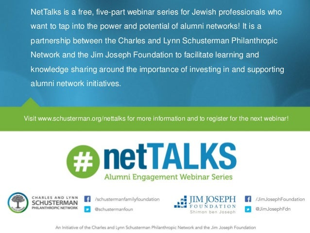 NetTalks is a free, five-part webinar series for Jewish professionals who want to tap into the power and potential of alum...