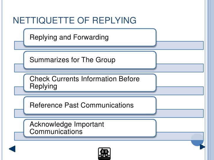 NETTIQUETTE OF REPLYING    Replying and Forwarding      Summarizes for The Group     Check Currents Information Before    ...