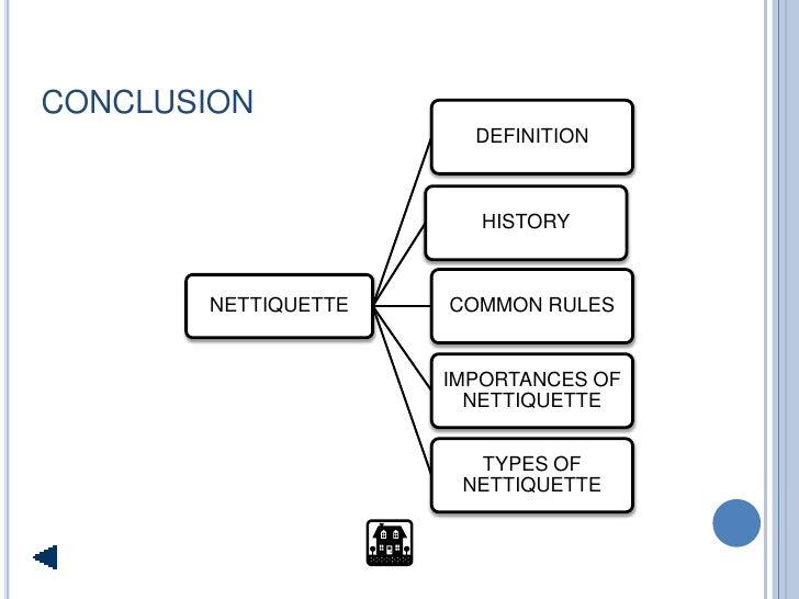 CONCLUSION                        DEFINITION                            HISTORY           NETTIQUETTE   COMMON RULES      ...
