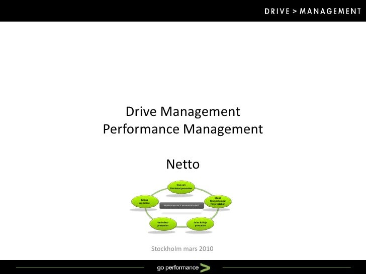 Drive ManagementPerformance ManagementNetto<br />Stockholm mars 2010<br />