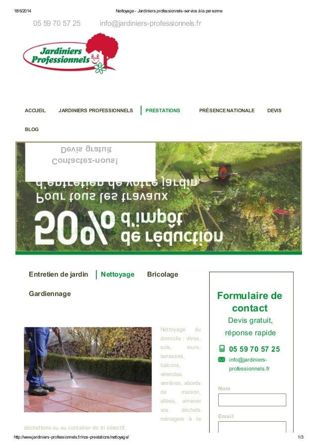 18/6/2014 Nettoyage - Jardiniers professionnels-service à la personne http://www.jardiniers-professionnels.fr/nos-prestati...