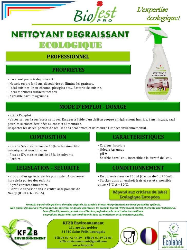 Nettoyant d graissant cologique biojest pro ecolabel ue for Produit de lustrage professionnel