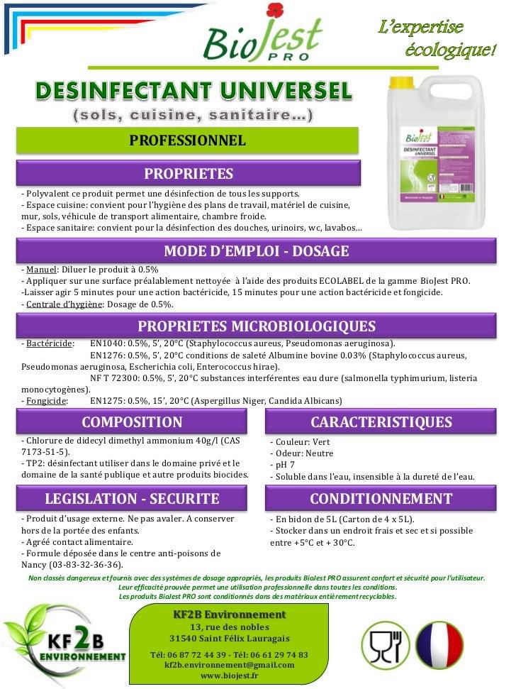 nettoyant désinfectant biojest pro 5l - fiche technique