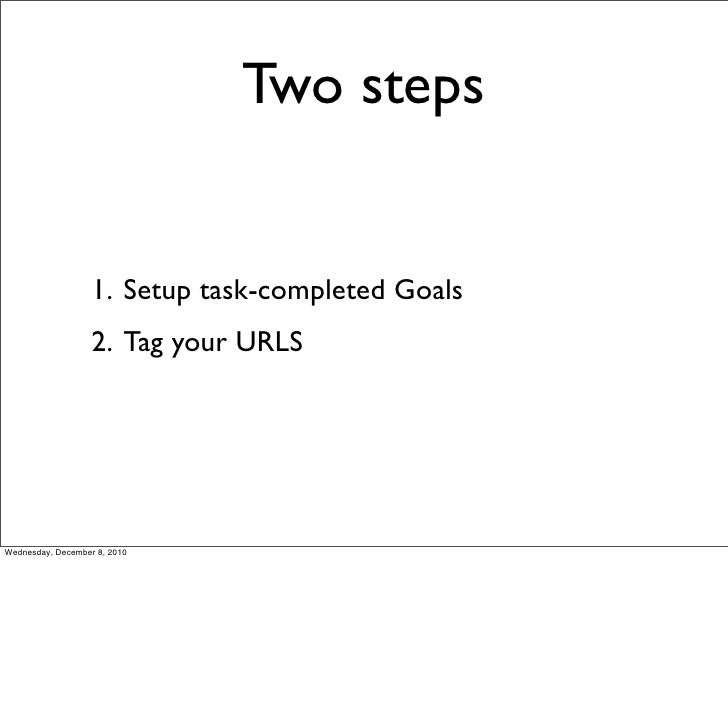 Two steps                   1. Setup task-completed Goals                   2. Tag your URLSWednesday, December 8, 2010