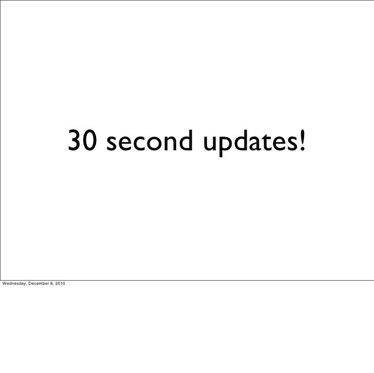 30 second updates!Wednesday, December 8, 2010