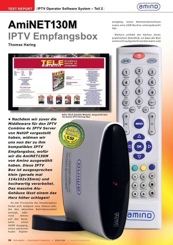 TEST REPORT                  IPTV Operator Software System – Teil 2AmiNET130M                                             ...