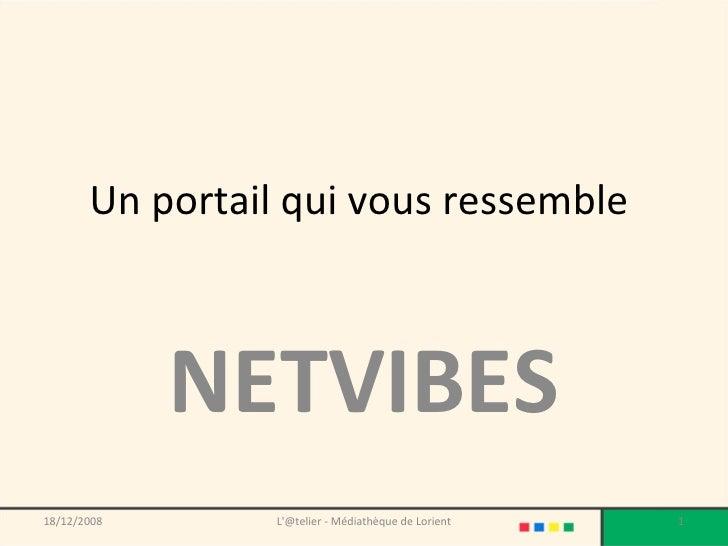Un portail qui vous ressemble  NETVIBES 18/12/2008 L'@telier - Médiathèque de Lorient