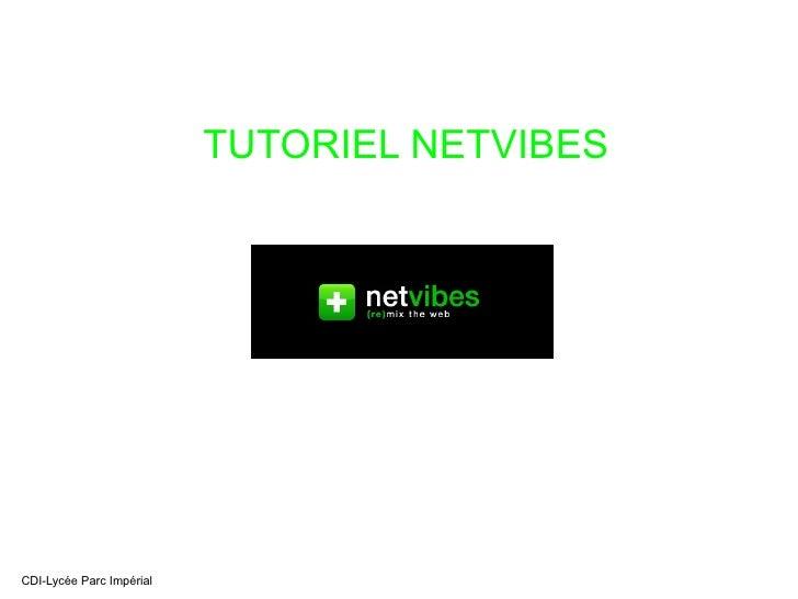 TUTORIEL NETVIBES CDI-Lycée Parc Impérial