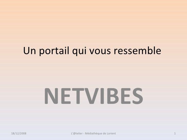 Un portail qui vous ressemble NETVIBES 18/12/2008 1L'@telier - Médiathèque de Lorient