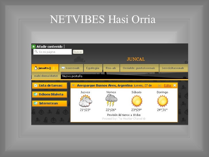 NETVIBES Hasi Orria