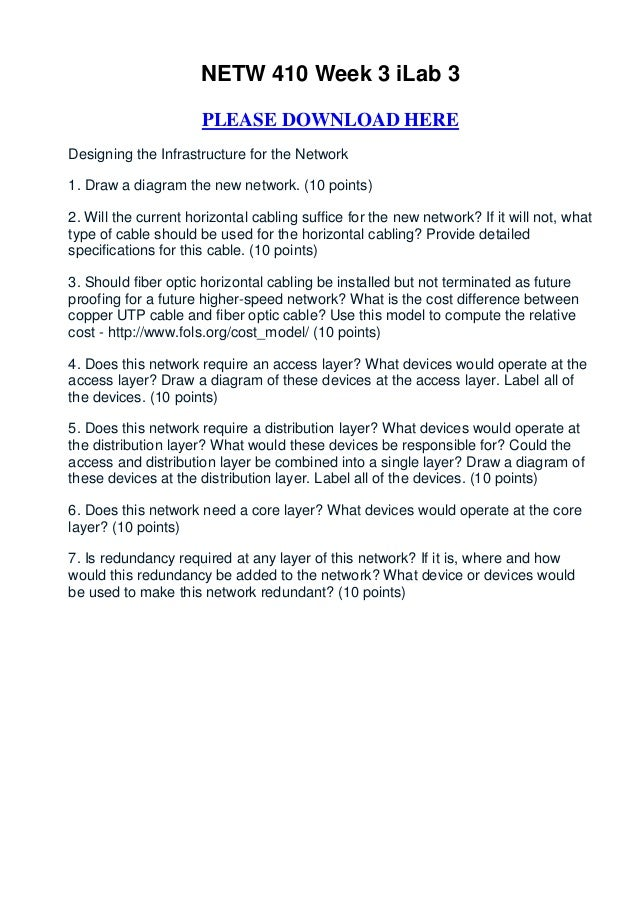 NETW 410 Week 3 iLab 3                      PLEASE DOWNLOAD HEREDesigning the Infrastructure for the Network1. Draw a diag...