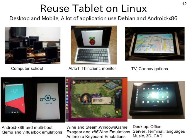 12 Reuse Tablet on Linux Computer school AI/IoT, Thinclient, monitor TV, Car navigations Android-x86 and multi-boot Qemu a...