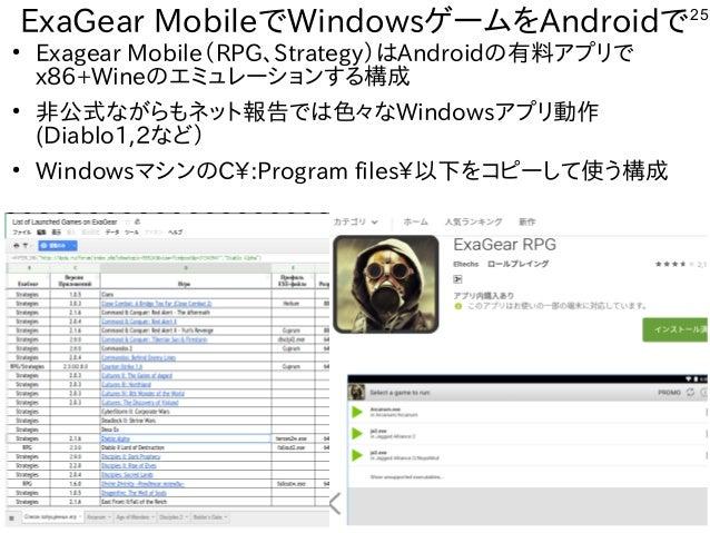 25 ExaGear MobileでWindowsゲームをAndroidで ● Exagear Mobile(RPG、Strategy)はAndroidの有料アプリで x86+Wineのエミュレーションする構成 ● 非公式ながらもネット報告では...